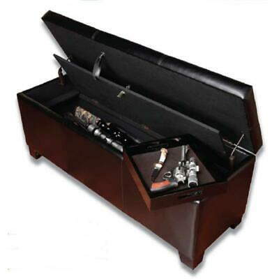 Gun Concealment Furniture Safe Bench Brown Carpeted Interior Firearms Storage US