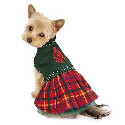 HOLLY DAYS PLAID Dog Dress Festive Fleece Green Tulle Underskirt Polka Dot Trim East Side Collection Polka Dot
