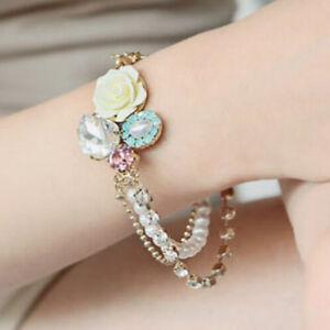 Hot Unique Charm Betsey Johnson Fashion Rhinestone Roses Pearl Crystal Bracelet