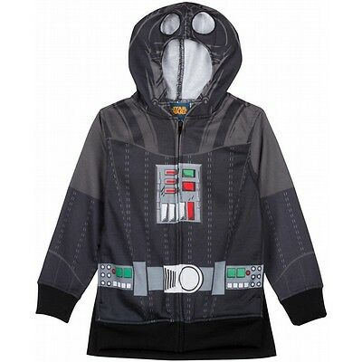 Boys Star Wars Darth Vader zip hoodie jacket face mask costume Size M Halloween - Halloween Zip Face Costume