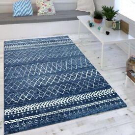 Cozy large, blue, pattern rug