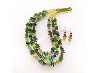 SALE-Triple String Necklace - Peridot Sea Shell Set