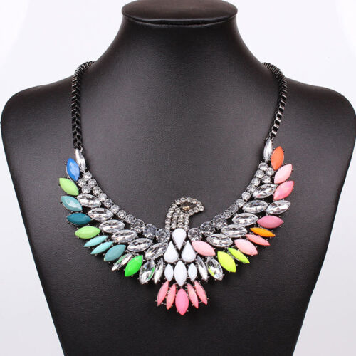 Fashion-Charm-Eagle-Jewelry-Crystal-Chunky-Statement-Bib-Pendant-Choker-Necklace