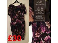 Marks & Spencer Size 18 Purple Flowery Dress