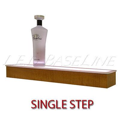 80 1 Tier Led Lighted Liquor Display Shelf - Maple Finish