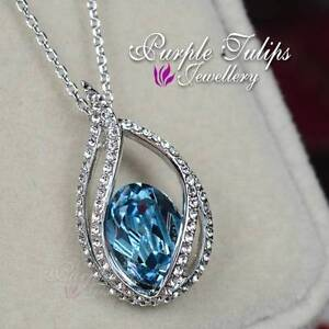 18CT White Gold GP Brilliant Waterdrop Aquamarine Necklace W/ Swarovski Crystals
