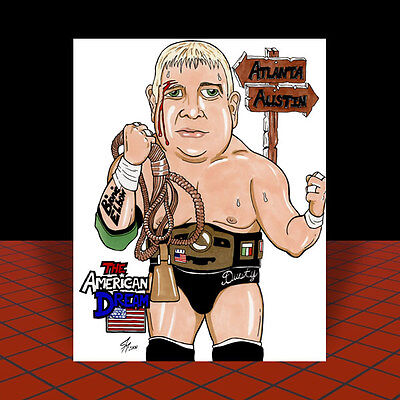 New DUSTY RHODES artist signed 1980's NWA POSTER ART, pro wrestling, wcw wwf wwe