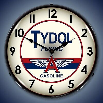 New nostalgic Tydol Flying A Gasoline LIGHT UP clock  more old style clocks also