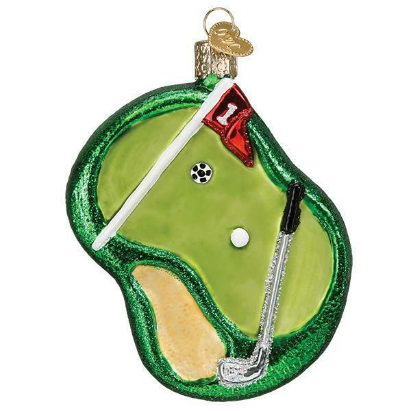 PUTTING GREEN OLD WORLD CHRISTMAS GLASS GOLF COURSE GOLFING ORNAMENT NWT 44156