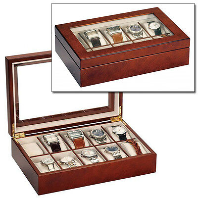 MELE & CO LUXURY WALNUT WOOD 10 WATCH DISPLAY CASE STORAGE BOX WOODEN WATCHBOX