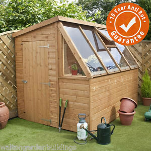 8 x 6 Tongue and Groove Potting Shed Wooden Greenhouse By Waltons