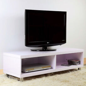 Brand new in box flat packed TV unit, wood high white gloss