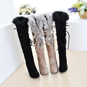 winter alluring faux fur trim high heel knee