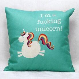 Cartoon Unicorn Pattern Square Shape Pillow Case