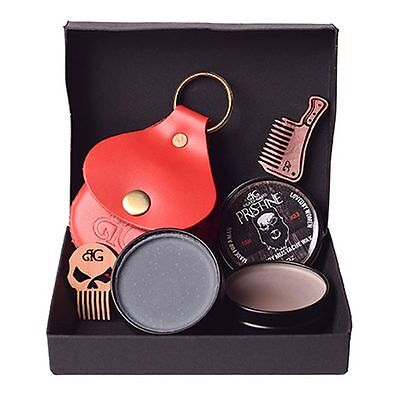 Beard Gains Mustache Wax Kit W/ Leather Case & Comb | Red, Brown, White, Black - Red Mustache