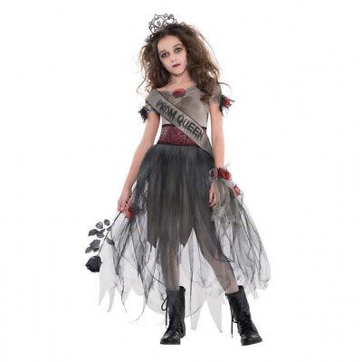 Halloween Zombie 5tlg. Kostüm Mädchen 164/170 Abschlussball Königin Kinder - Kostüm Abschlussball Königin
