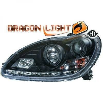 Scheinwerfer Set für Mercedes S-Klasse W220 02-05 Klarglas/Schwarz LED