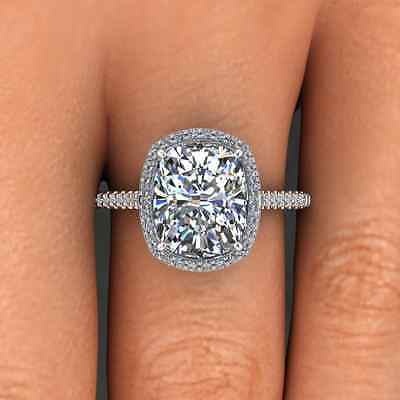 3.00 Ct. Natural Cushion Cut Halo Pave Eternity Diamond Engagement Ring - GIA