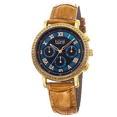 Burgi BUR087BG Swiss Quartz Mulitfunction Date Beige Leather Strap Womens Watch