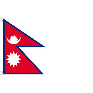 Nepal Flag 5 x 3 FT - 100% Polyester With Eyelets - Large Nepalese National