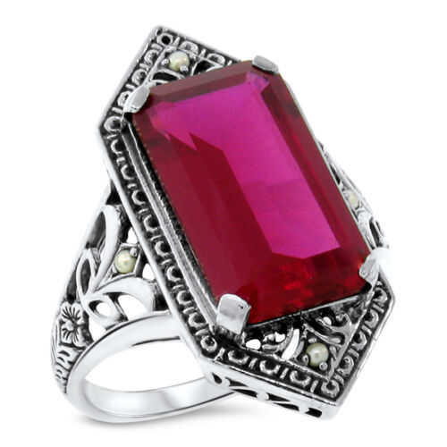 9 CT RED LAB RUBY PEARL ANTIQUE VICTORIAN DESIGN 925 STERLING SILVER RING   #473