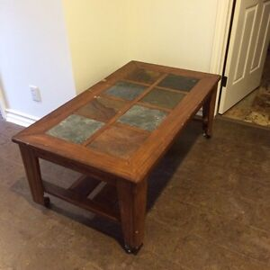 Coffee table stone and cherry