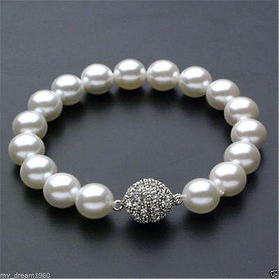 schöne 10mm weiße Meer Shell Perle armband 8 Zoll-Magnetverschluss