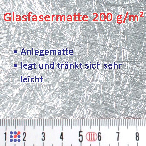 GLASMATTE, GLASVLIES, GLASFASERMATTE F. POLYESTERHARZ  EPOXIDHARZ POLYESTERVLIES Glasmatte 200 g/m²