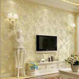 Beige non woven wallpaper 3d living room bedroom for tv for Beige wallpaper living room