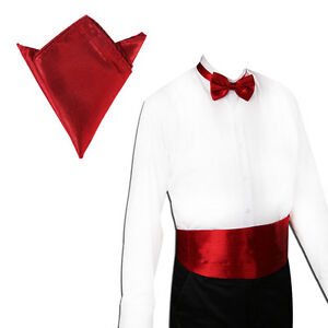 New Italian Satin Cummerbund and Bow Tie and Hanky Set 30 Colors
