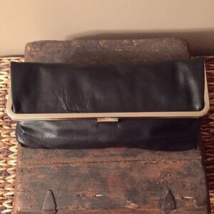 KENAR black leather clutch