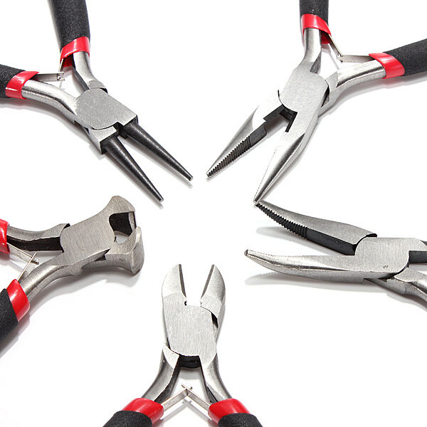 """5pcs JEWELERS PLIERS SET JEWELRY MAKING BEADING WIRE WRAPPING HOBBY 5"""" PLIER US"""