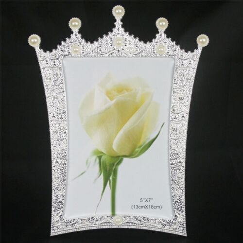 7inch Crystal Pearl Oval Wedding Photo Frame Metal Alloy: Fashion Crystal Pearl Crown Home Decor Photo Frame Alloy