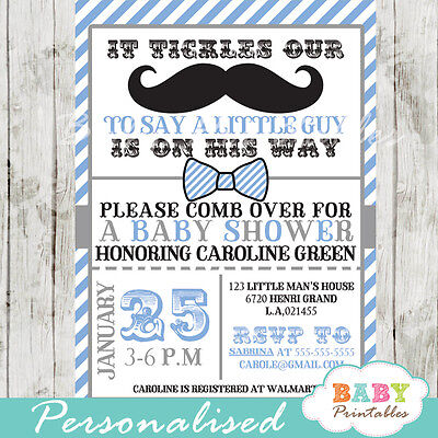 Blue Gray Mustache Baby Shower Invitation for Boys - Printable Digital File