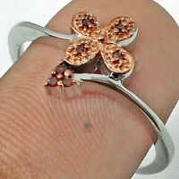 7 RED DIAMONDs in 925 SILVER with 18Kt Rose Gold top RING Sz 8