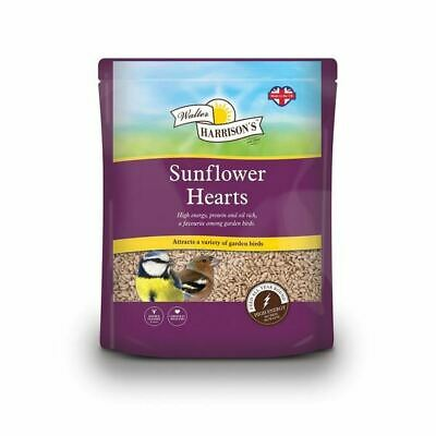 Walter Harrisons Sunflower Hearts Seed High Energy for Garden Variety Birds 4kg