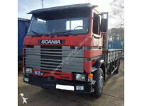 Left hand drive Scania 92M 250 HP Turbo Intercooler 17.5 ton truck with loading ramps.