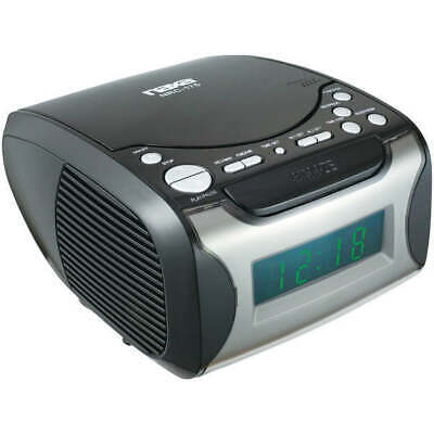 Naxa NRC175 Digital Alarm Clock Radio & CD Player Black/Silver .9 LCD