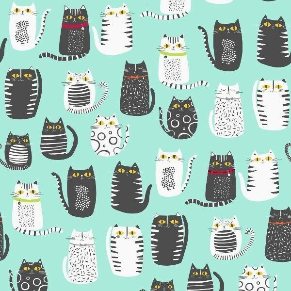 Cat Fish Cats Fat Cat Drawings Black and Gray on Aqua Cotton