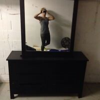 Dark expresso dresser mirror and side table
