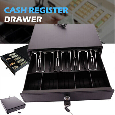 Cash Register Drawer Box 4 Bill 5 Coin Lock Tray Compatible Works Pos Printer Us