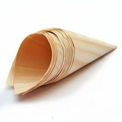 KRAFTZ® 100 Pc Wooden Bamboo Disposable Cones 125x90mm for party, food, snacks