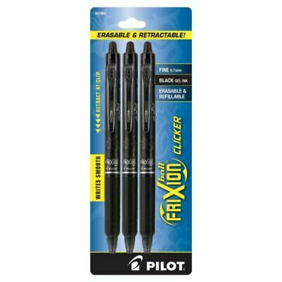 New Pilot Frixion Clicker Erasable Retractable Gel Pens Fine 0.7mm Black 3 Pk