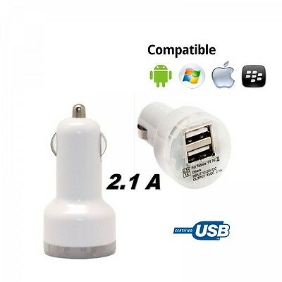 Cargador doble mechero coche para movil tablet 2.1A-1A dos USB blanco 12-24v