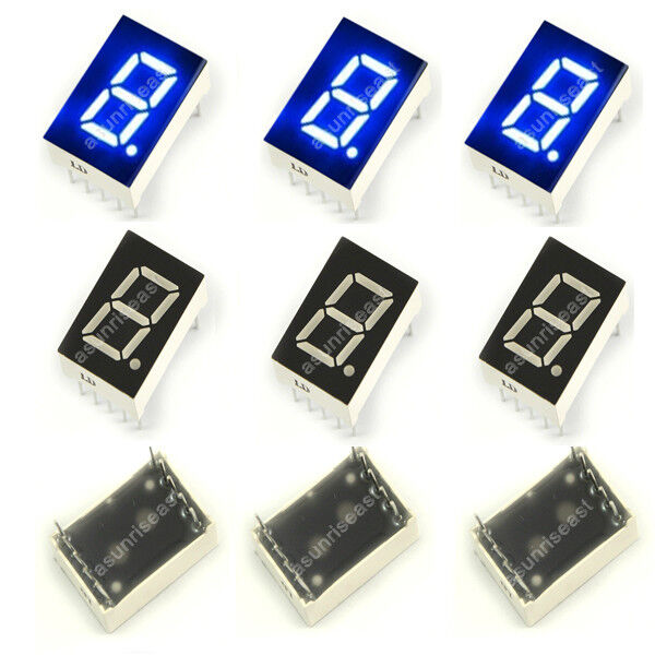 "10 × Blue 7 Segment 0.5""  LED Single Digit display Common Cathode 1 Bit 10-Pin"