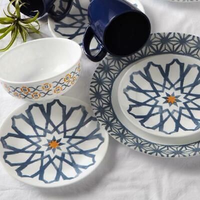 Corelle Signature Amalfi Azul 16-Piece Dinnerware Set, Dinning Kitchen Blue