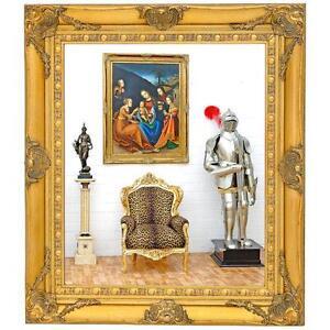 Grand miroir baroque 80x70cm cadre en bois dore style for Acheter miroir baroque