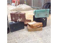 Vintage railway, military, travel suitcases and metal foot lockers x 16