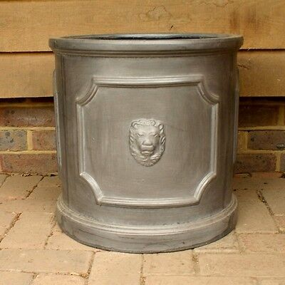 38cm Clayfibre Faux Lead Lion Head Cylinder Planter/Home and Garden