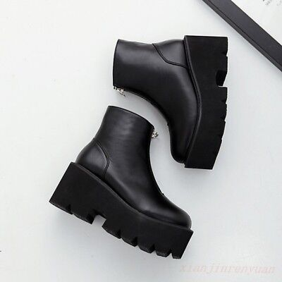 Front Zip Boots - Combat Shoes Ankle Boots Motorcycle Punk Gothic Womens Platform Front Zip Ladies